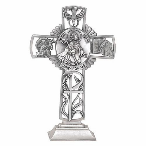 Jeweled Cross St Kevin Bethany Collection Pewter Standing Cross