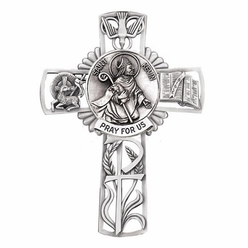 Jeweled Cross St Kevin Bethany Collection Pewter Wall Cross