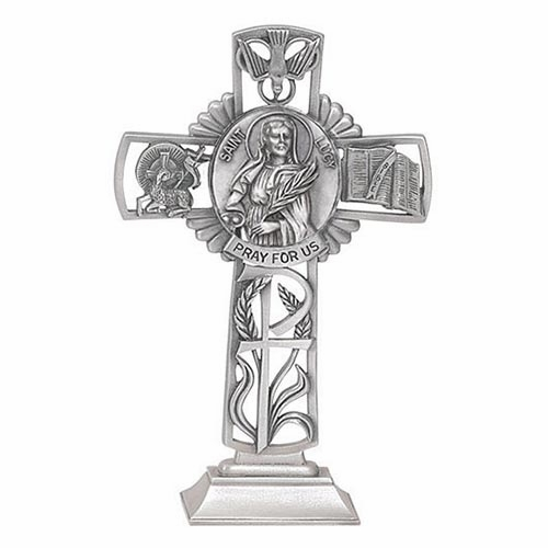Jeweled Cross St Lucy Bethany Collection Pewter Standing Cross