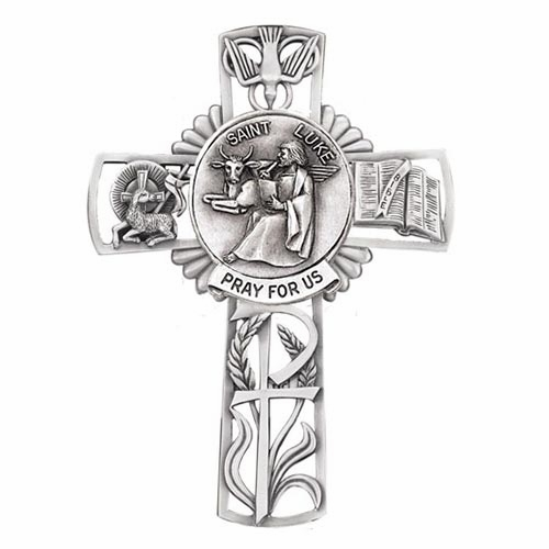 Jeweled Cross St Luke Bethany Collection Pewter Wall Cross