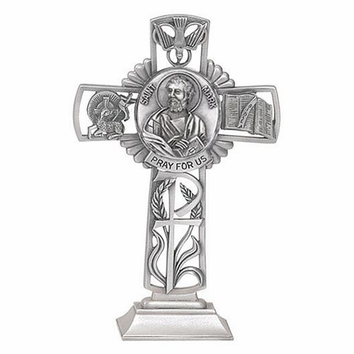 Jeweled Cross St Mark Bethany Collection Pewter Standing Cross