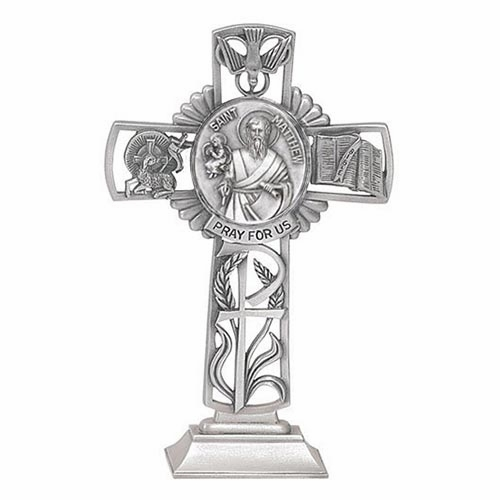 Jeweled Cross St Matthew Bethany Collection Pewter Standing Cross