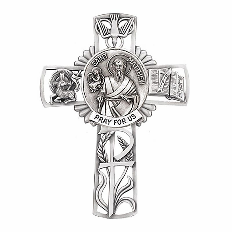 Jeweled Cross St Matthew Bethany Collection Pewter Wall Cross