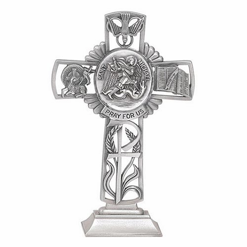 Jeweled Cross St Michael Bethany Collection Pewter Standing Cross