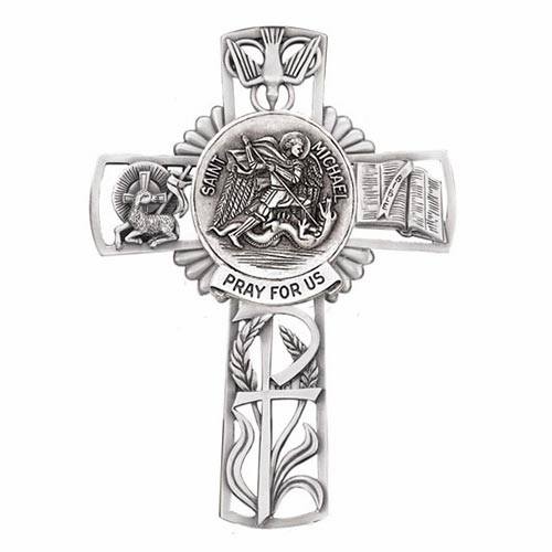 Jeweled Cross St Michael Bethany Collection Pewter Wall Cross