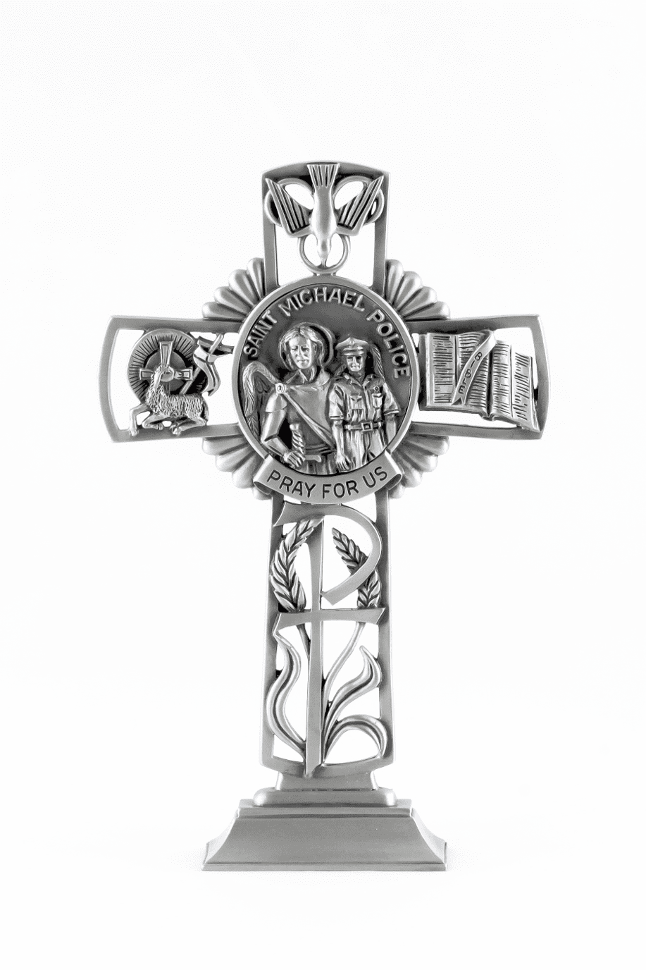 Jeweled Cross St Michael Police Bethany Collection Pewter Standing Cross