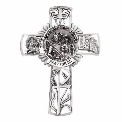 Jeweled Cross St Michael Police Bethany Collection Pewter Wall Cross