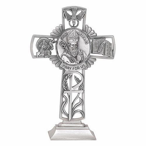 Jeweled Cross St Nicholas Bethany Collection Pewter Standing Cross