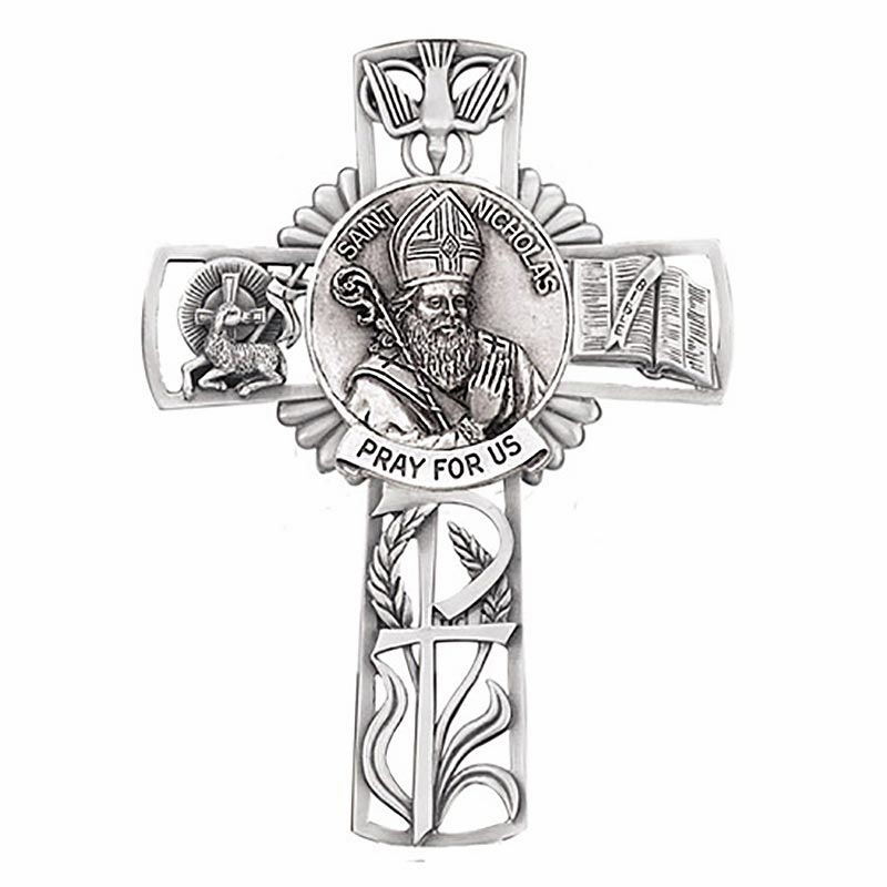 Jeweled Cross St Nicholas Bethany Collection Pewter Wall Cross