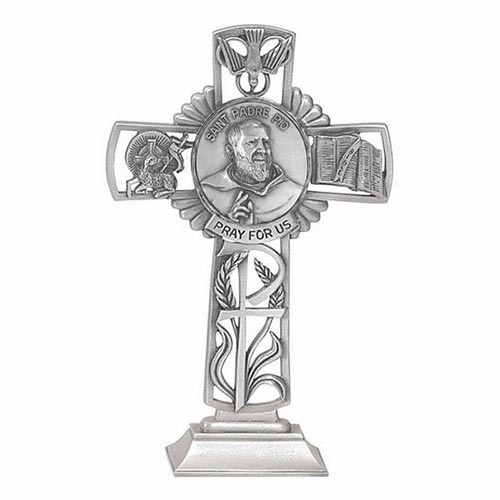 Jeweled Cross St Padre Pio Bethany Collection Pewter Standing Cross