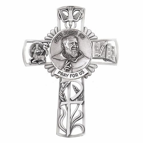 Jeweled Cross St Padre Pio Bethany Collection Pewter Wall Cross