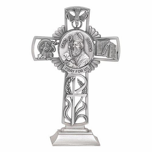 Jeweled Cross St Patrick Bethany Collection Pewter Standing Cross