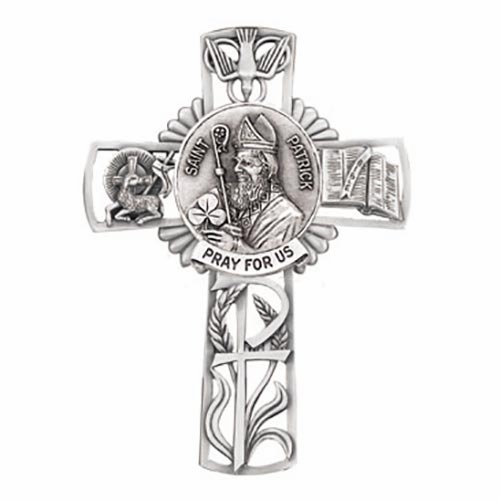 Jeweled Cross St Patrick Bethany Collection Pewter Wall Cross