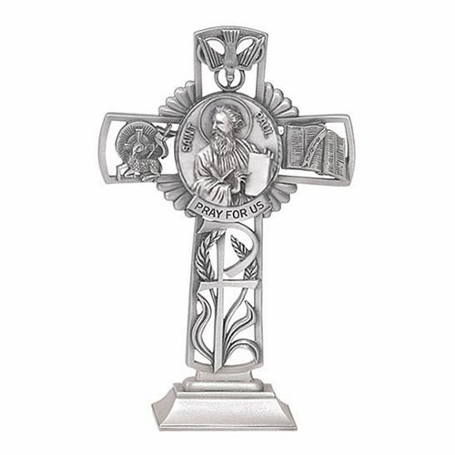 Jeweled Cross St Paul Bethany Collection Pewter Standing Cross