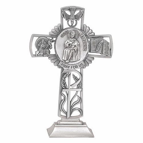 Jeweled Cross St Peregrine Bethany Collection Pewter Standing Cross