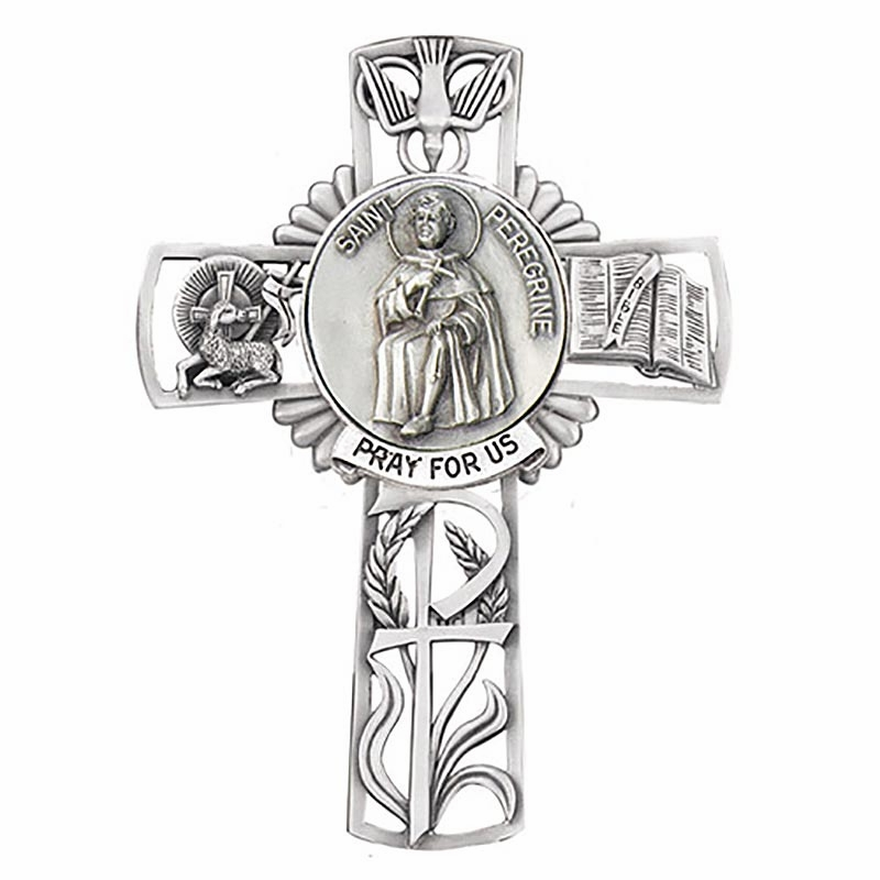Jeweled Cross St Peregrine Bethany Collection Pewter Wall Cross