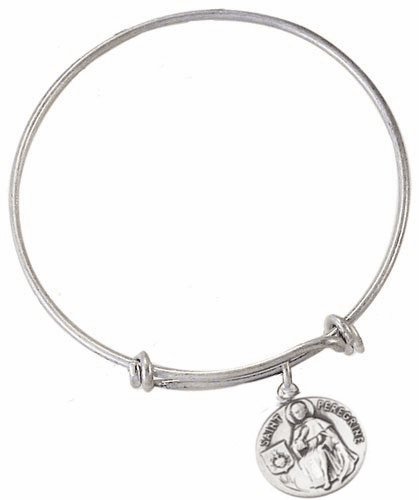 Jeweled Cross St Peregrine Patron Saint of Cancer Patients Silver Plated Bracelet