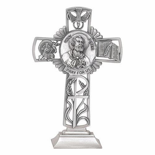 Jeweled Cross St Peter Bethany Collection Pewter Standing Cross