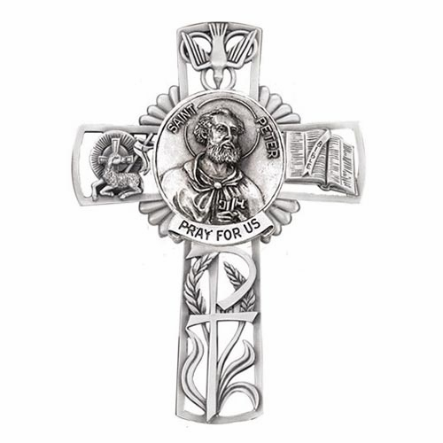 Jeweled Cross St Peter Bethany Collection Pewter Wall Cross