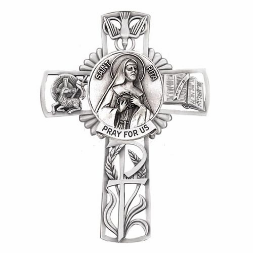 Jeweled Cross St Rita Bethany Collection Pewter Wall Cross