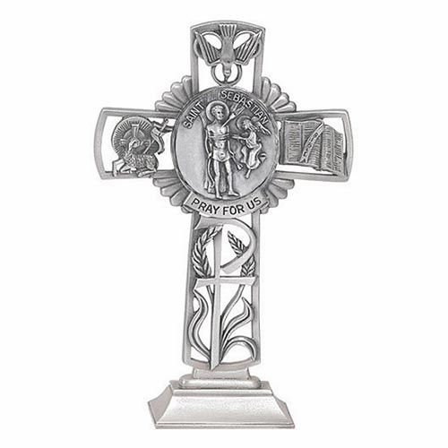 Jeweled Cross St Sebastian Bethany Collection Pewter Standing Cross