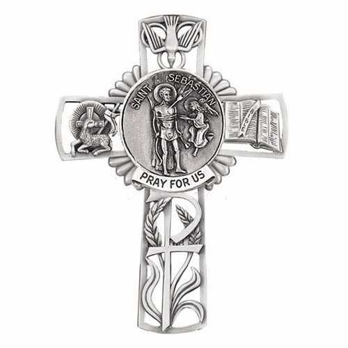 Jeweled Cross St Sebastian Bethany Collection Pewter Wall Cross