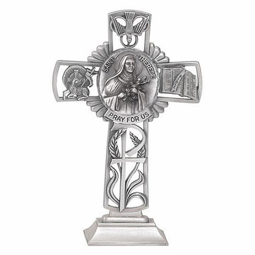 Jeweled Cross St Therese Bethany Collection Pewter Standing Cross