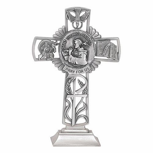 Jeweled Cross St Thomas Aquinas Bethany Collection Pewter Standing Cross