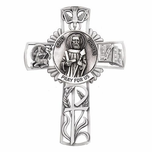 Jeweled Cross St Thomas Aquinas Bethany Collection Pewter Wall Cross
