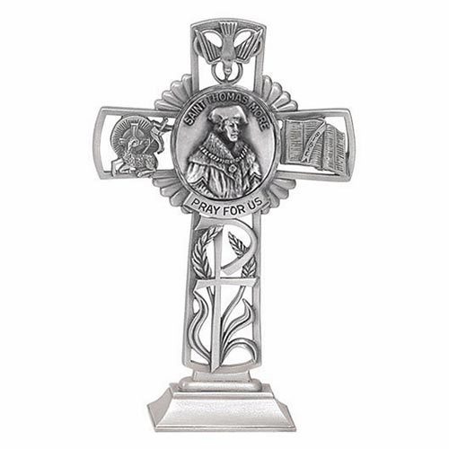 Jeweled Cross St Thomas More Bethany Collection Pewter Standing Cross