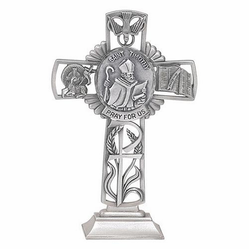 Jeweled Cross St Timothy Bethany Collection Pewter Standing Cross