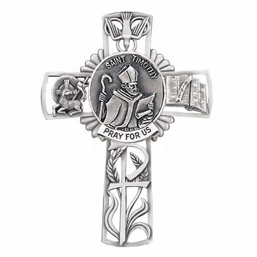 Jeweled Cross St Timothy Bethany Collection Pewter Wall Cross