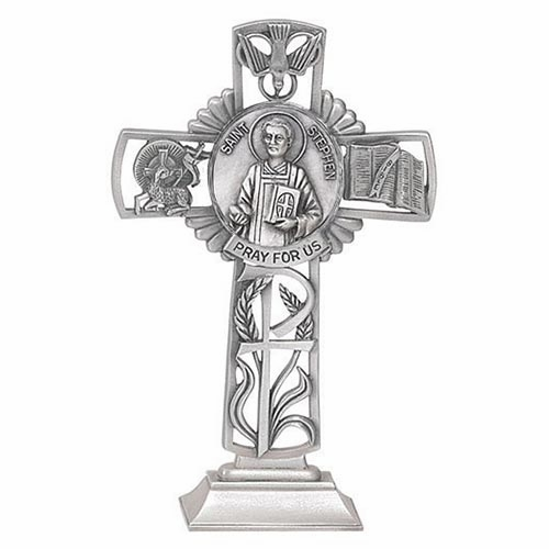 Jeweled Cross Stephen Bethany Collection Pewter Standing Cross