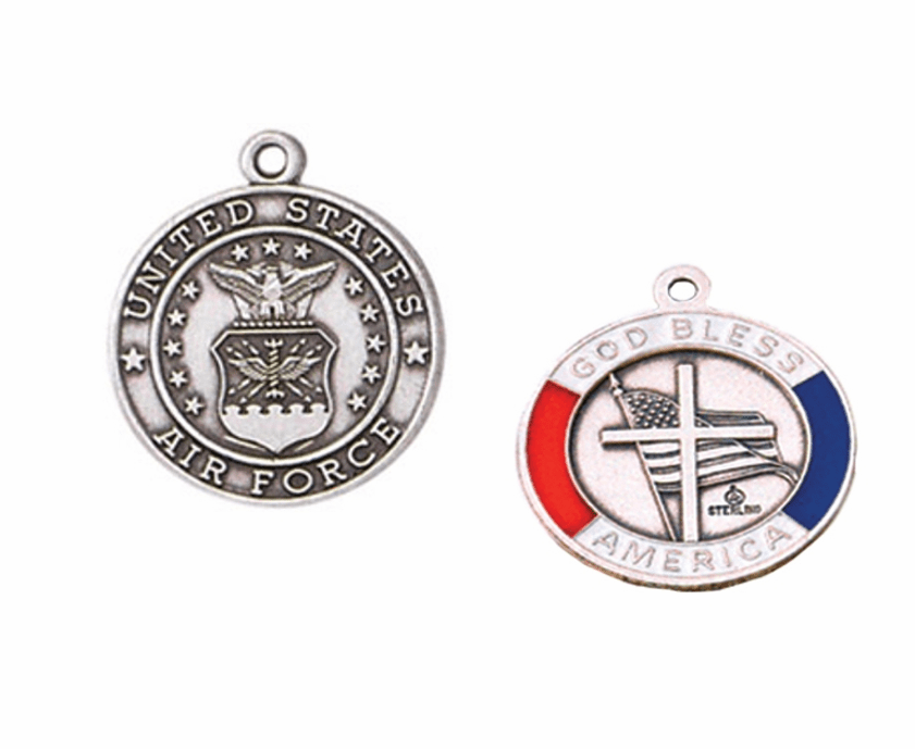 Jeweled Cross Sterling Silver Air Force God Bless America Medal
