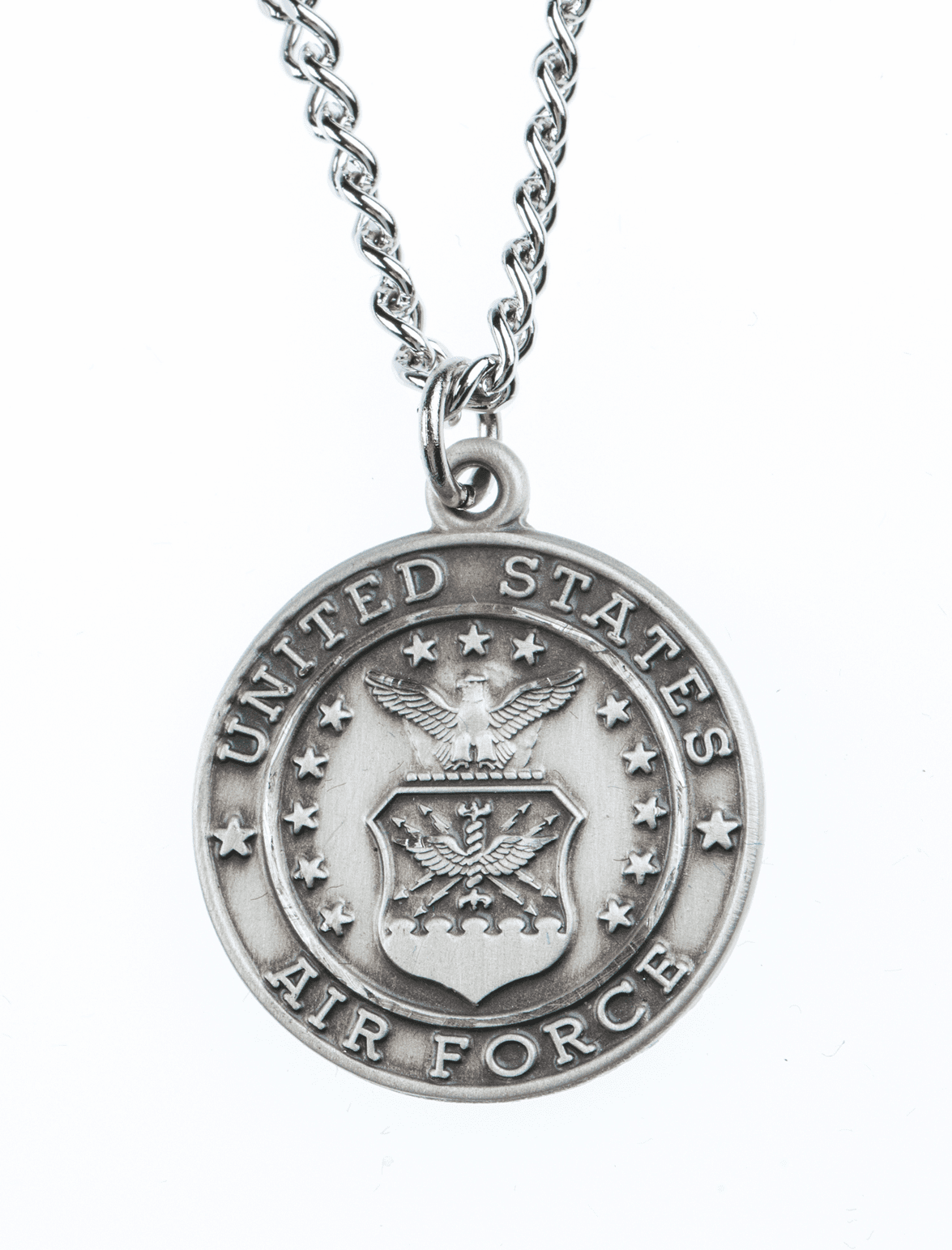 Jeweled Cross Sterling Silver Air Force St. Christopher Medal