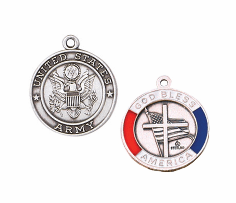 Jeweled Cross Sterling Silver Army God Bless America Medal