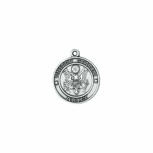 Jeweled Cross Sterling Silver Army St. Christopher Medal