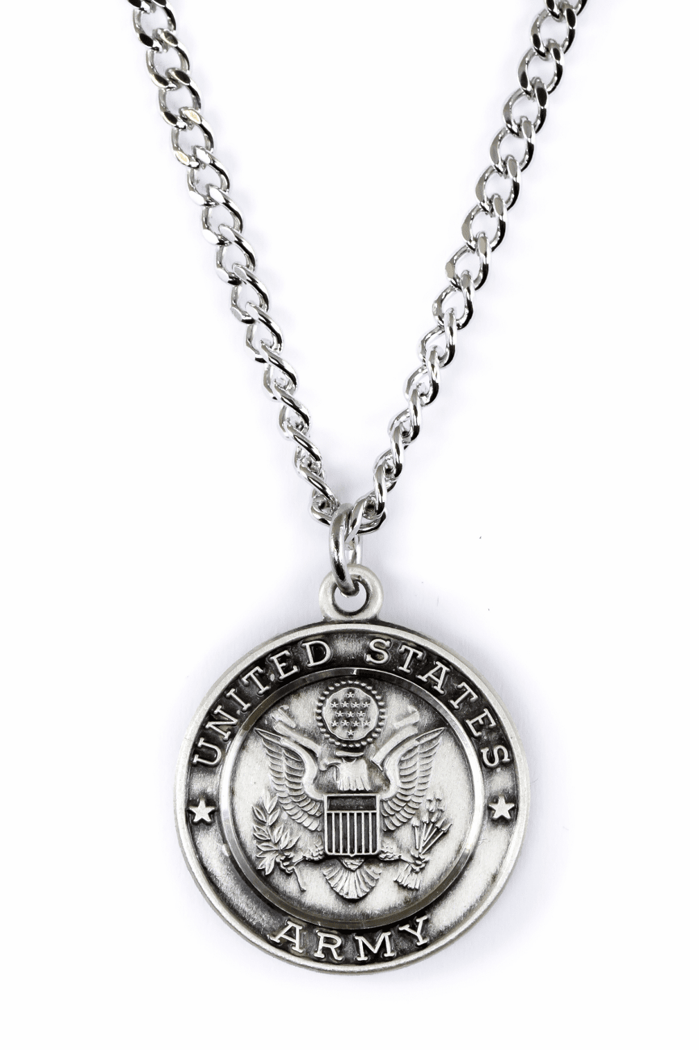 Jeweled Cross Sterling Silver Army St. Michael Archangel Medal