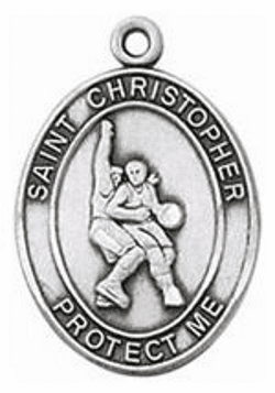 Jeweled Cross Sterling Silver Basketball St Christopher Necklace