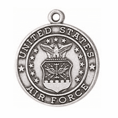 Jeweled Cross Sterling Silver God Bless America Air Force Necklace