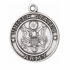 Jeweled Cross Sterling Silver God Bless America Army Necklace