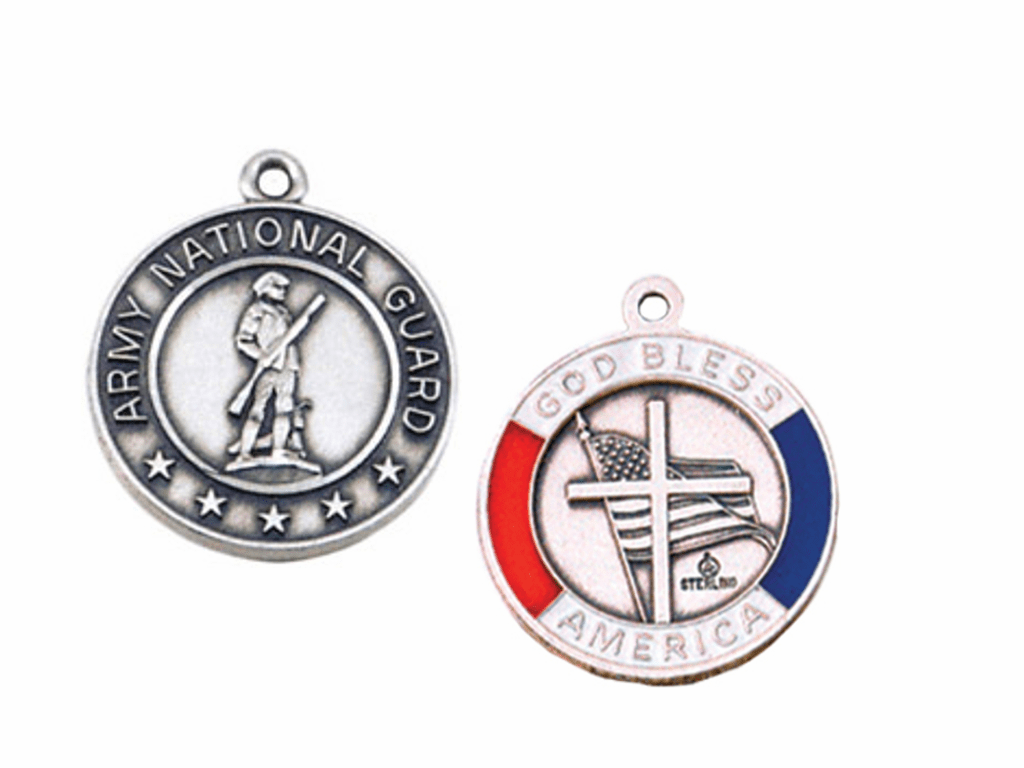 Jeweled Cross Sterling Silver National Guard God Bless America Medal