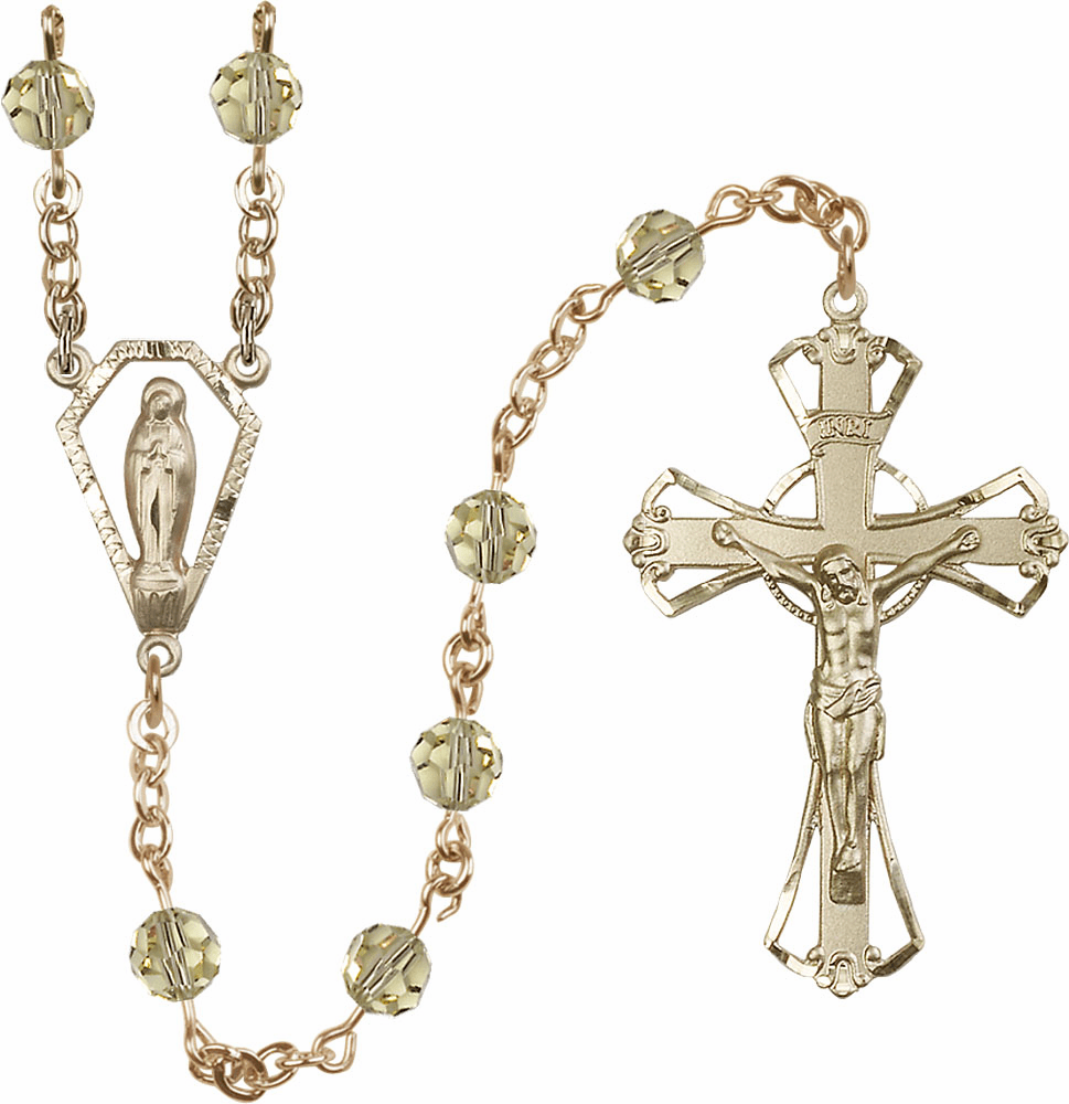 Jnoquil Yellow 6mm AB Swarovski 14kt Gold Praying Madonna Catholic Rosary by Bliss