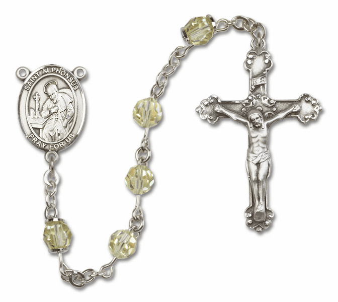 Jonquil Swarovski Patron Saint Sterling Silver Rosary by Bliss