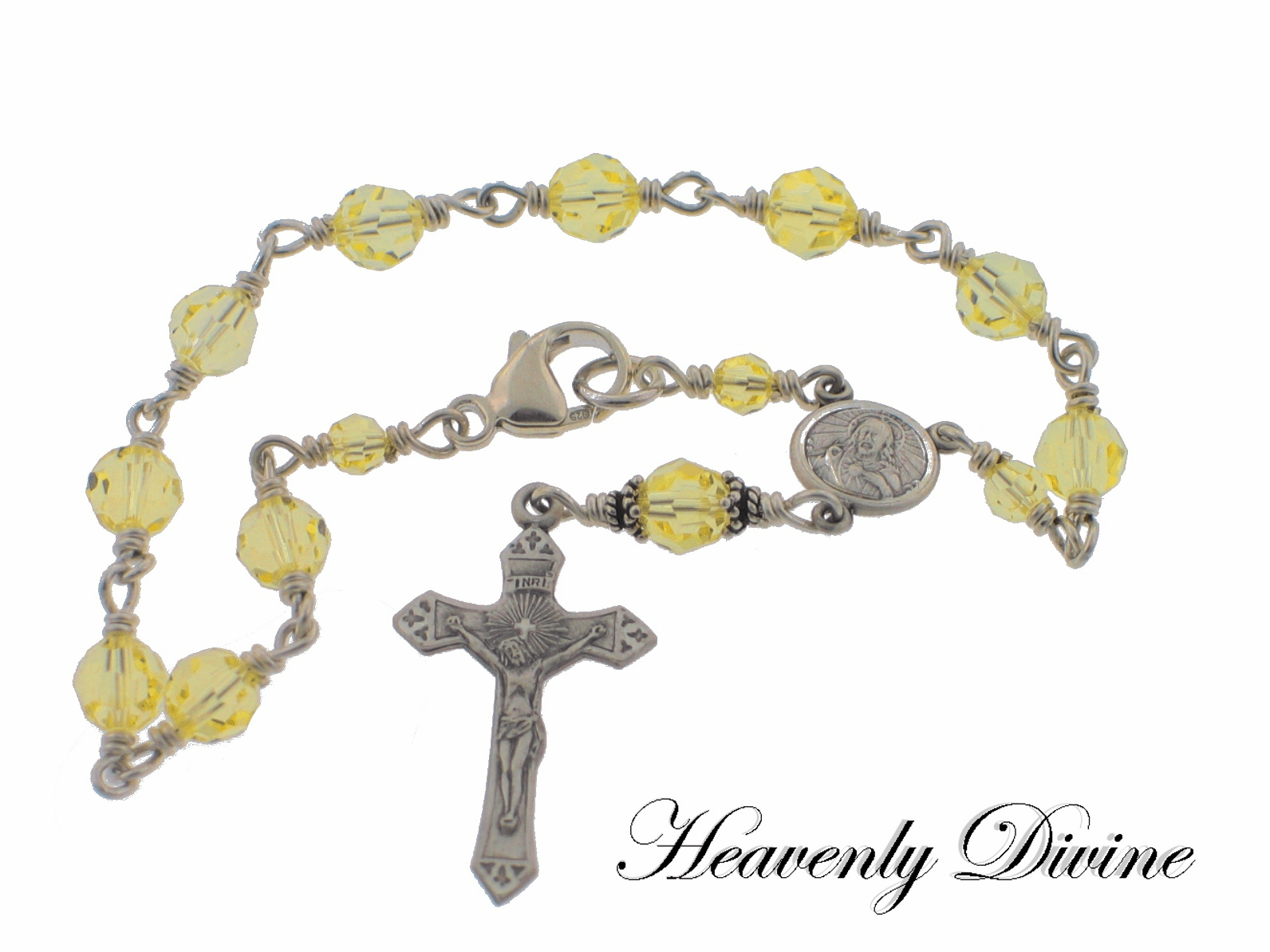Jonquil Yellow Swarovski Crystal Wire Wrapped Sterling Silver Rosary Bracelet by Heavenly Divine