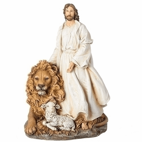 Joseph Studio 12in Christ Jesus with a Lion and Lamb Statue by Roman Inc