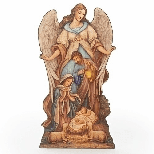 Joseph Studio 20in Holy Family Nativity w/Angel Easel Plaque by Roman Inc