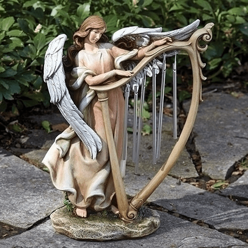Joseph Studio Angel and Harp with Chimes Garden Statue by Roman Inc