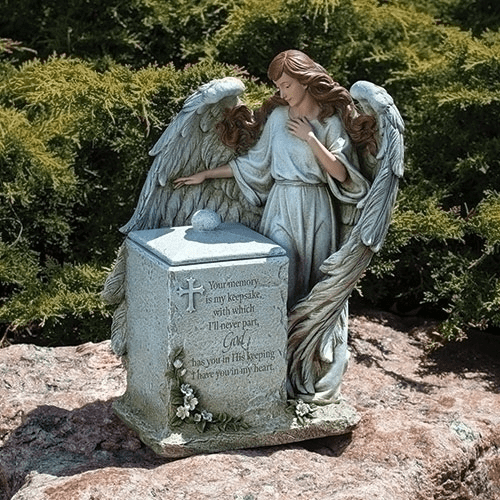 Joseph Studio Angel Memorial Box Garden Statue w/Verse by Roman Inc