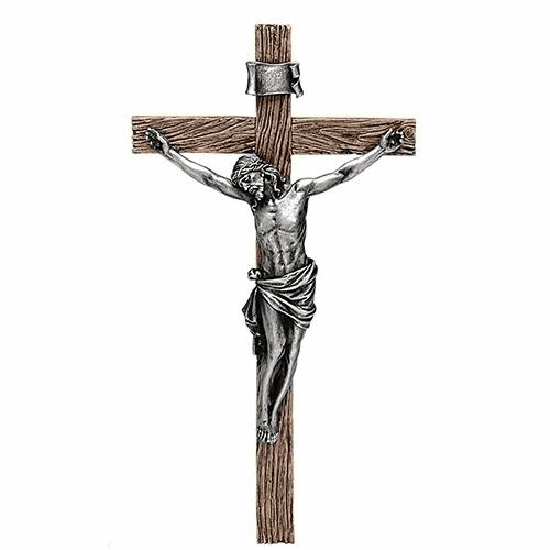 "Joseph Studio Antiqued Silver 20.25""H Wall Crucifix by Roman"